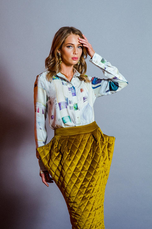 Velvet quilted skirt by Tanya Snezh-Lebedeva. Бархатная стеганая юбка Таня Снеж-лебедева