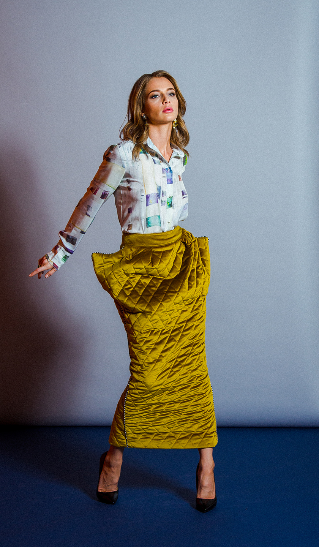 Velvet quilted skirt by Tanya Snezh-Lebedeva